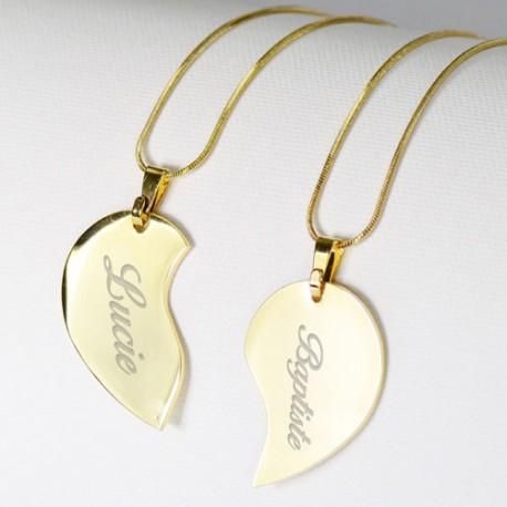 Collier coeur séparable doré